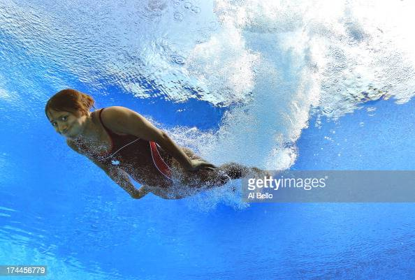 Jennifer Abel of Canada competes in the Women's 3m Springboard Diving preliminary round on day seven of the 15th FINA World Championships at Piscina...
