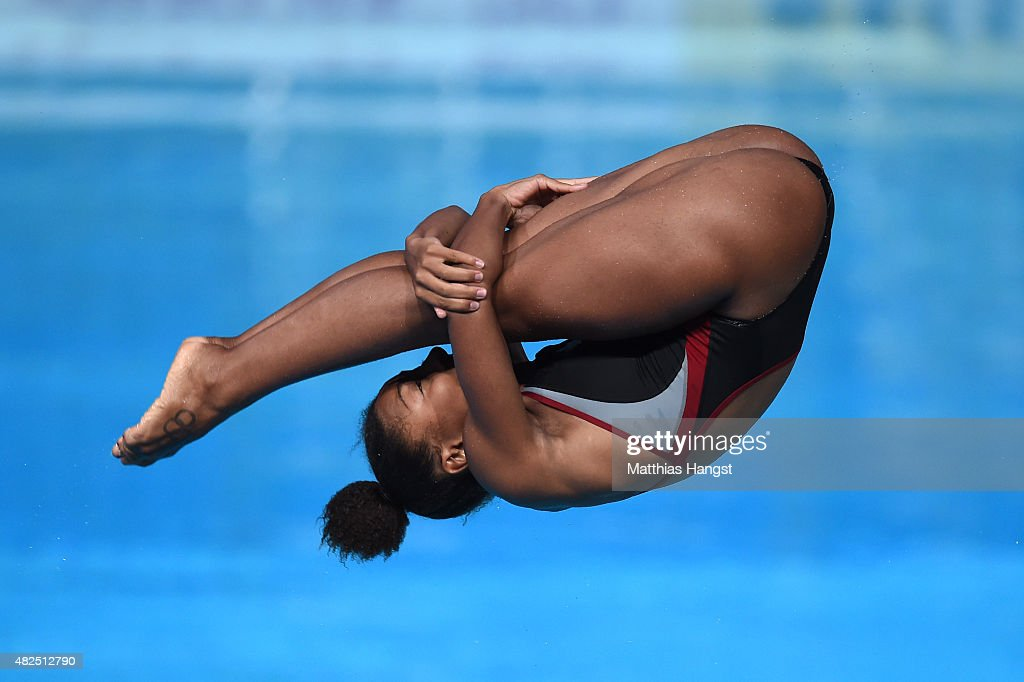 Jennifer Abel of Canada competes in the Women's 3m Springboard Diving Semifinals on day seven of the 16th FINA World Championships at the Aquatics...