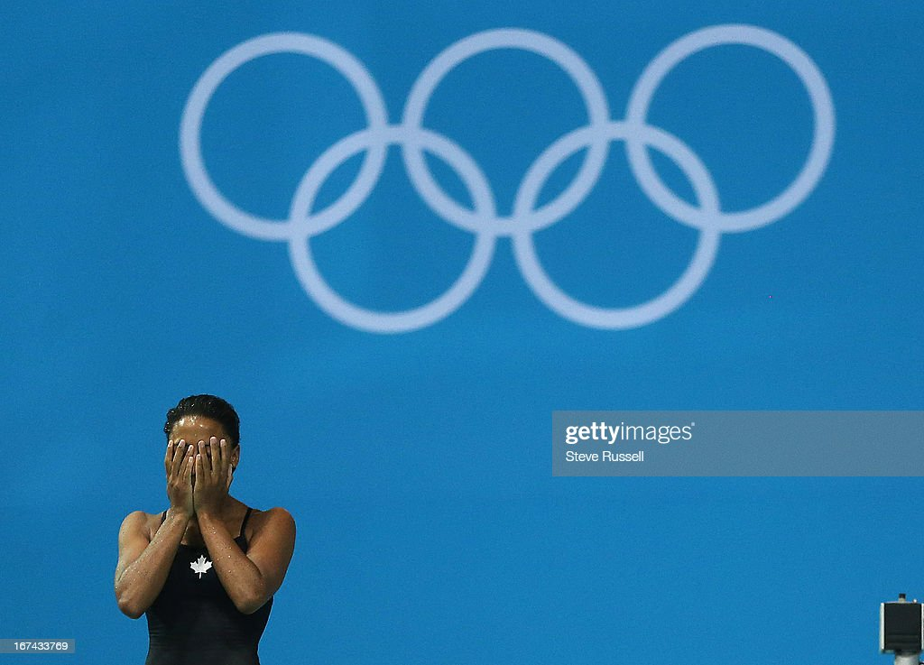 Jennifer Abel prepares for her last dive. She finishes sixth and Emilie Heymans finished last on the three metre springboard final at the London 2012 Olympic Games at the Aquatic Centre.