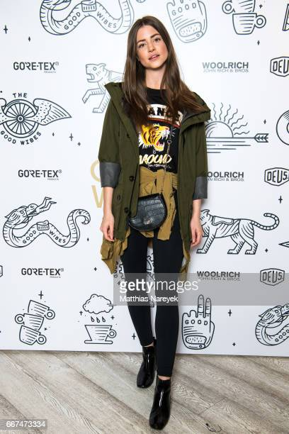 Jennifer Amanda Krueger attends the opening of the 'Good Wibes Bike Bar' to present the new ebike by Woolrich Deus at the Woolrich Store on April 11...