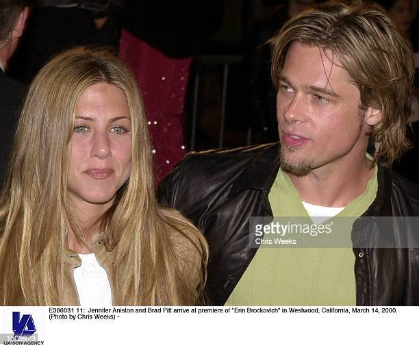 Jennifer Aniston and Brad Pitt arrive at premiere of 'Erin Brockovich' in Westwood California March 14 2000