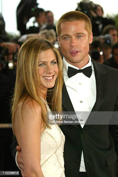 Jennifer Aniston and Brad Pitt during 2004 Cannes Film Festival 'Troy' Premiere at Palais Du Festival in Cannes France
