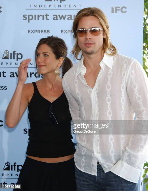 Jennifer Aniston and Brad Pitt during The 18th Annual IFP Independent Spirit Awards Arrivals at Santa Monica Beach in Santa Monica California United...
