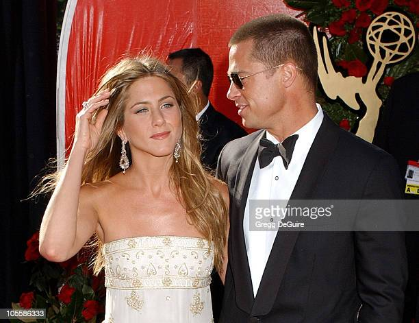 Jennifer Aniston and Brad Pitt during The 56th Annual Primetime Emmy Awards Arrivals at The Shrine Auditorium in Los Angeles California United States