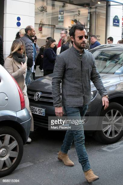 Jennifer Aniston and husband Justin Theroux are seen leaving the 'Colette' store on April 14 2017 in Paris France
