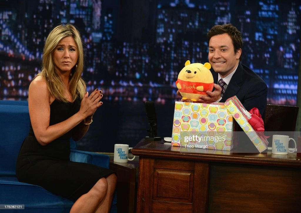 <a gi-track='captionPersonalityLinkClicked' href=/galleries/search?phrase=Jennifer+Aniston&family=editorial&specificpeople=202048 ng-click='$event.stopPropagation()'>Jennifer Aniston</a> and Jimmy Fallon during a taping of 'Late Night With Jimmy Fallon' at Rockefeller Center on August 1, 2013 in New York City.