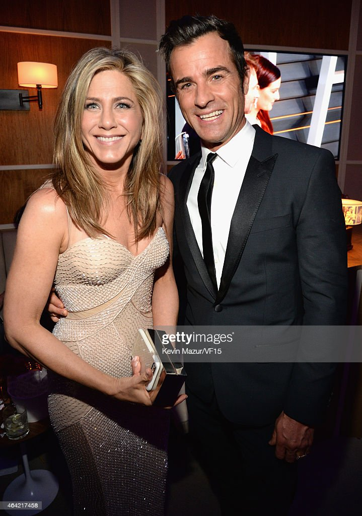 Jennifer Aniston and Justin Theroux attend the 2015 Vanity Fair Oscar Party hosted by Graydon Carter at the Wallis Annenberg Center for the...
