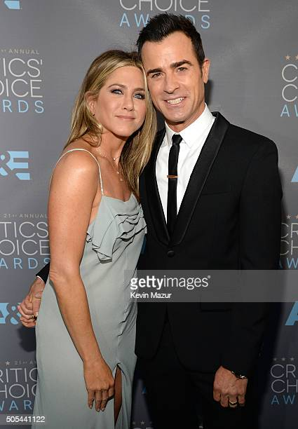 Jennifer Aniston and Justin Theroux attend the 21st Annual Critics' Choice Awards at Barker Hangar on January 17 2016 in Santa Monica California
