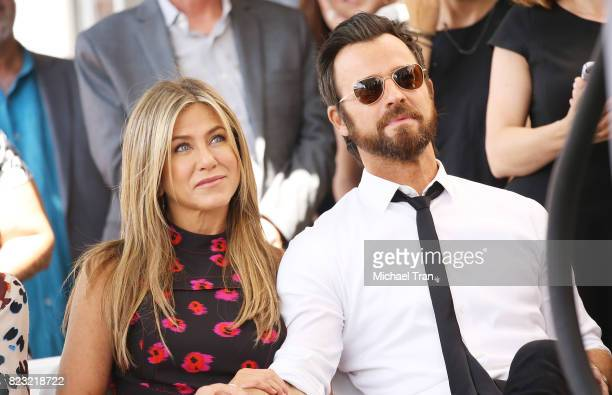 Jennifer Aniston and Justin Theroux attend the ceremony honoring Jason Bateman with a Star on The Hollywood Walk of Fame held on July 26 2017 in...