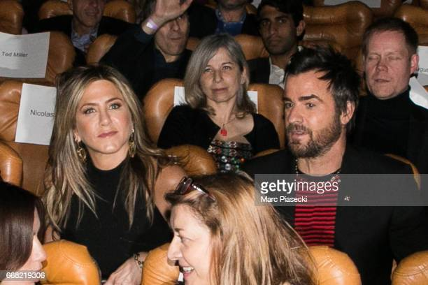 Jennifer Aniston and Justin Theroux attend the 'Series Mania Festival' opening night at Le Grand Rex on April 13 2017 in Paris France