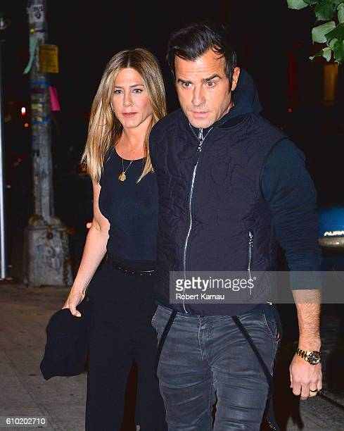 Jennifer Aniston and Justin Theroux step out for dinner in Manhattan on September 24 2016 in New York City