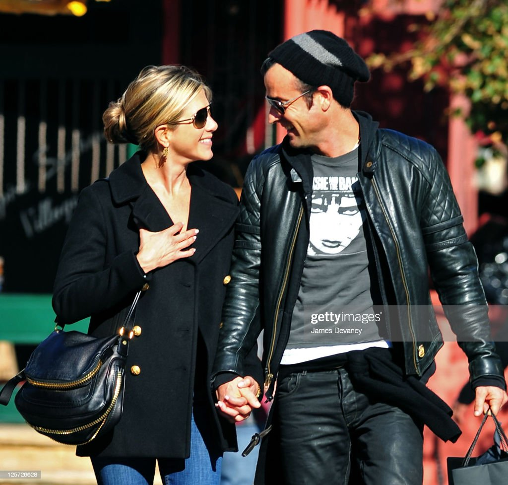 Jennifer Aniston and Justin Theroux walk in the West Village on September 18 2011 in New York City
