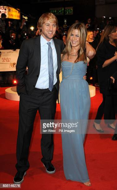 Jennifer Aniston and Owen Wilson arriving for the premiere of Marley And Me at the Vue Leicester Square London