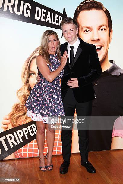 Jennifer Aniston and Will Poulter attend the European premiere of 'We're The Millers' at The Odeon West End on August 14 2013 in London England