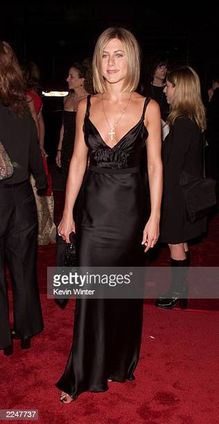 Jennifer Aniston arrives at the 27th Annual People's Choice Awards at the Pasadena Civic Auditorium in Los Angeles California Sunday January 7 2001...