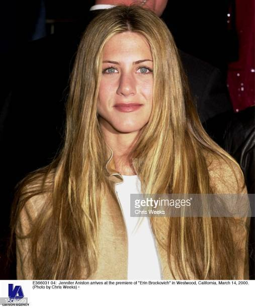 Jennifer Aniston arrives at the premiere of 'Erin Brockovich' in Westwood California March 14 2000