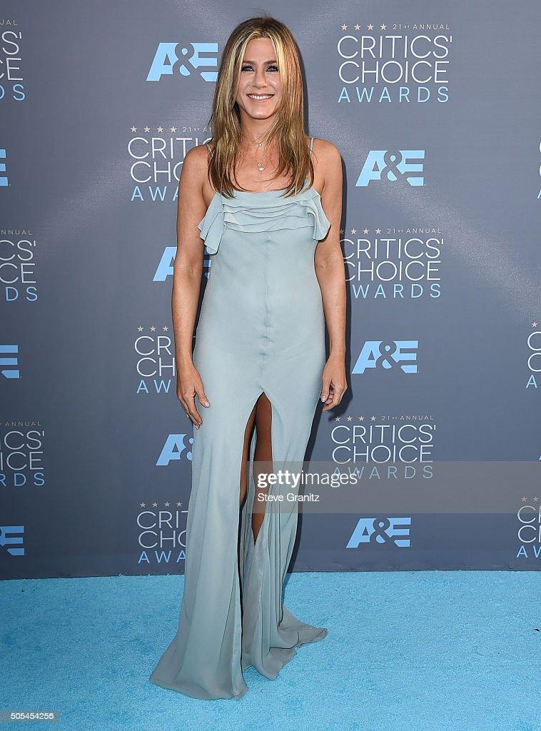 Jennifer Aniston arrives at the The 21st Annual Critics' Choice Awards at Barker Hangar on January 17 2016 in Santa Monica California