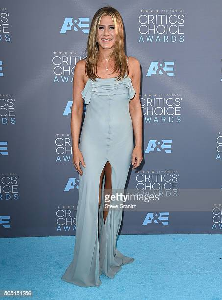 Jennifer Aniston arrives at the The 21st Annual Critics' Choice Awards at Barker Hangar on January 17 2016 in Santa Monica California