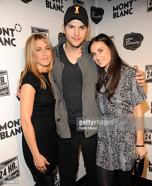 Jennifer Aniston Ashton Kutcher and Demi Moore walk the red carpet at the 9th Annual 24 Hour Plays on Broadway After Party presented by MONTBLANC at...