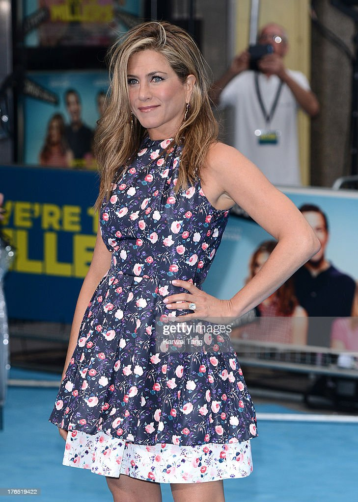 <a gi-track='captionPersonalityLinkClicked' href=/galleries/search?phrase=Jennifer+Aniston&family=editorial&specificpeople=202048 ng-click='$event.stopPropagation()'>Jennifer Aniston</a> attends the European premiere of 'We're The Millers' at the Odeon West End on August 14, 2013 in London, England.