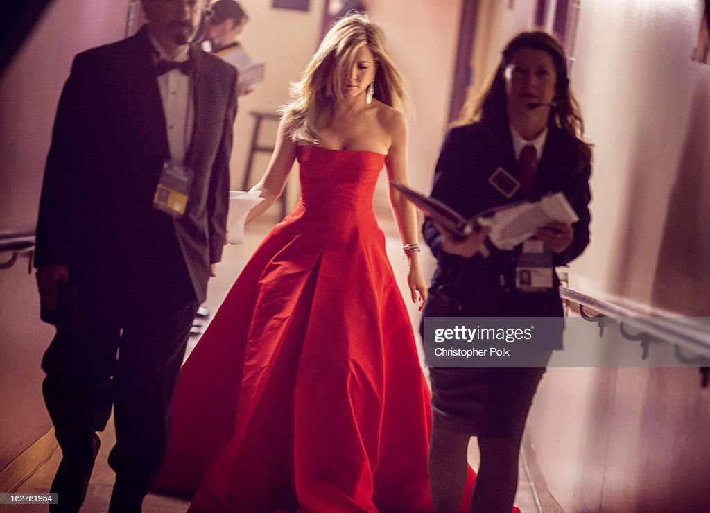 <a gi-track='captionPersonalityLinkClicked' href=/galleries/search?phrase=Jennifer+Aniston&family=editorial&specificpeople=202048 ng-click='$event.stopPropagation()'>Jennifer Aniston</a> backstage during the Oscars held at the Dolby Theatre on February 24, 2013 in Hollywood, California.