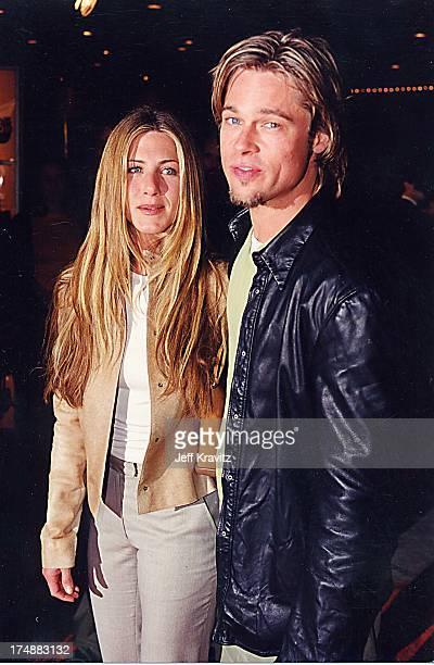 Jennifer Aniston Brad Pitt during 'Erin Brockovich' Premiere at Mann Village Theatre in Westwood California United States