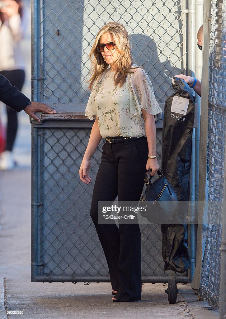 Jennifer Aniston is seen at 'Jimmy Kimmel Live' on November 24, 2014 in Los Angeles, California.