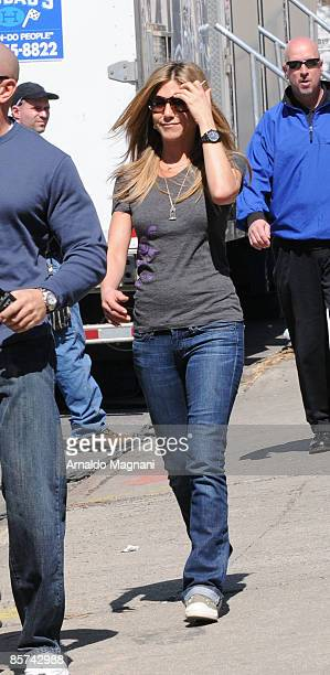 Jennifer Aniston is seen entering the movie set of 'Baster' after makeup and hair preparations March 31 2009 in Brooklyn Borough of New York City