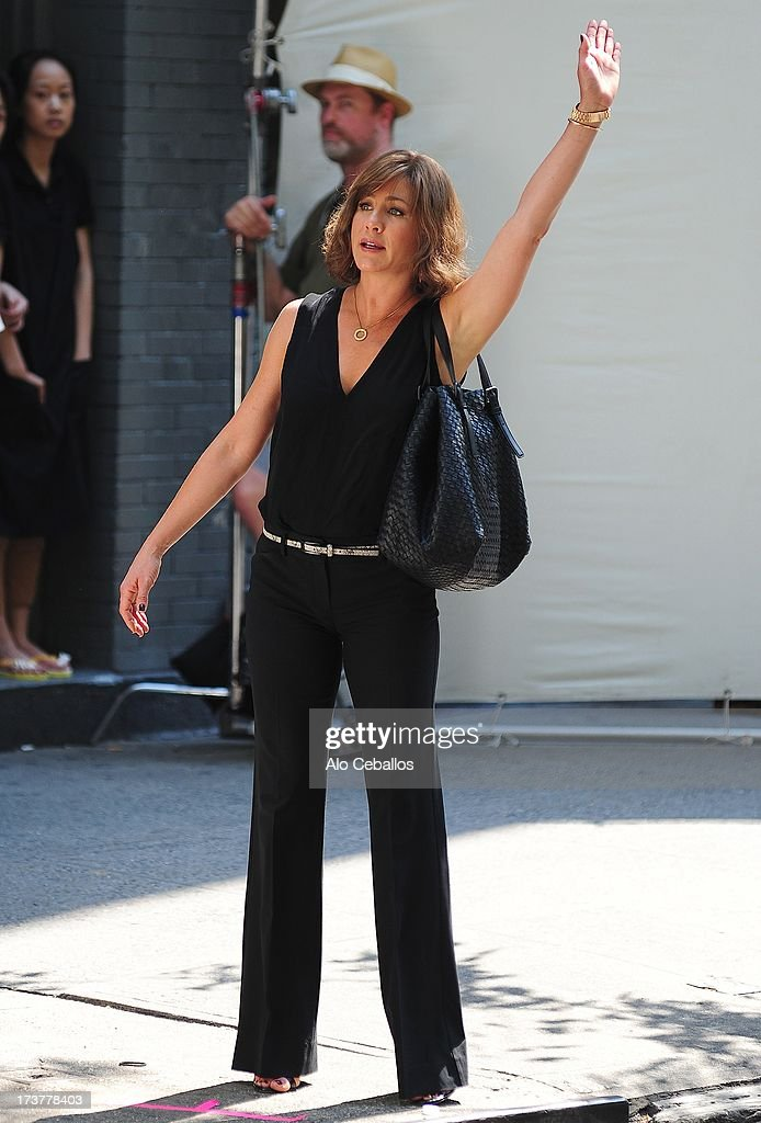 <a gi-track='captionPersonalityLinkClicked' href=/galleries/search?phrase=Jennifer+Aniston&family=editorial&specificpeople=202048 ng-click='$event.stopPropagation()'>Jennifer Aniston</a> is seen on the set of 'Squirrels to the Nuts' on July 17, 2013 in New York City.