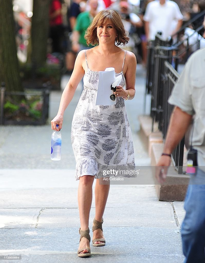 Jennifer Aniston is seen on the set of 'Squirrels to the Nuts' on July 18, 2013 in New York City.