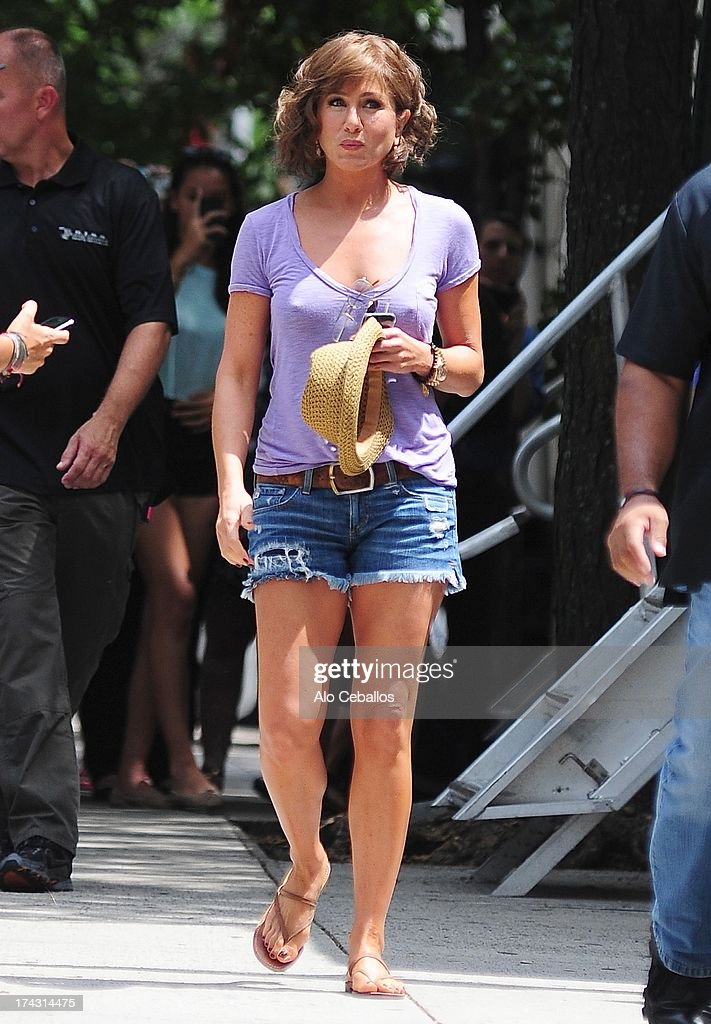 Jennifer Aniston is seen on the set of 'Squirrels to the Nuts' on July 23, 2013 in New York City.