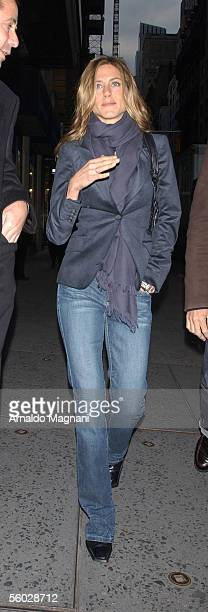 Jennifer Aniston is shown walking to CNN studio for an interview with Larry King to promote her new movie 'Derailed' October 28 2005 in New York City