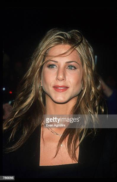 Jennifer Aniston poses November 2 1998 in New York City Actress Aniston attends the premiere of the film 'Meet Joe Black'