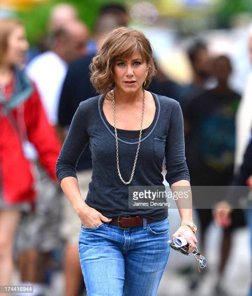 Jennifer Aniston seen on the set of 'Squirrels to the Nuts' on July 25 2013 in the Astoria neighborhood of the Queens borough of New York City