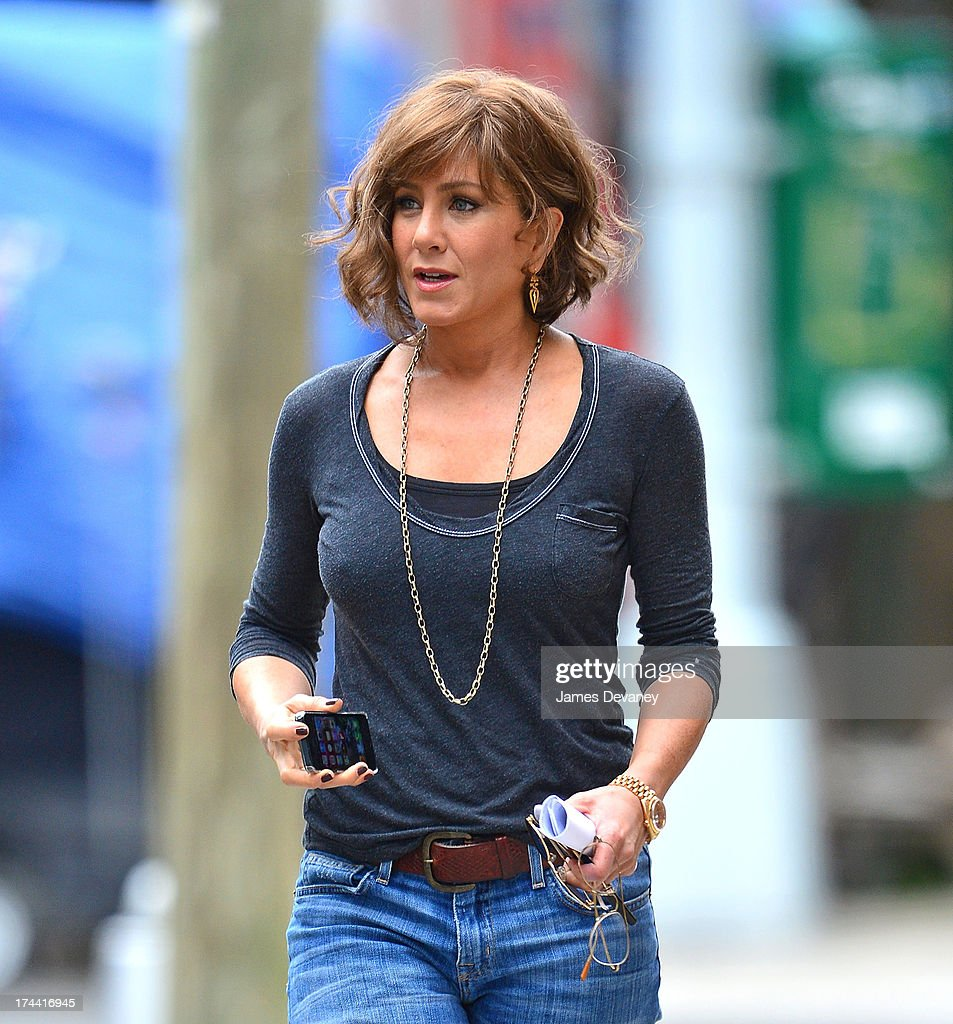 <a gi-track='captionPersonalityLinkClicked' href=/galleries/search?phrase=Jennifer+Aniston&family=editorial&specificpeople=202048 ng-click='$event.stopPropagation()'>Jennifer Aniston</a> seen on the set of 'Squirrels to the Nuts' on July 25, 2013 in the Astoria neighborhood of the Queens borough of New York City.
