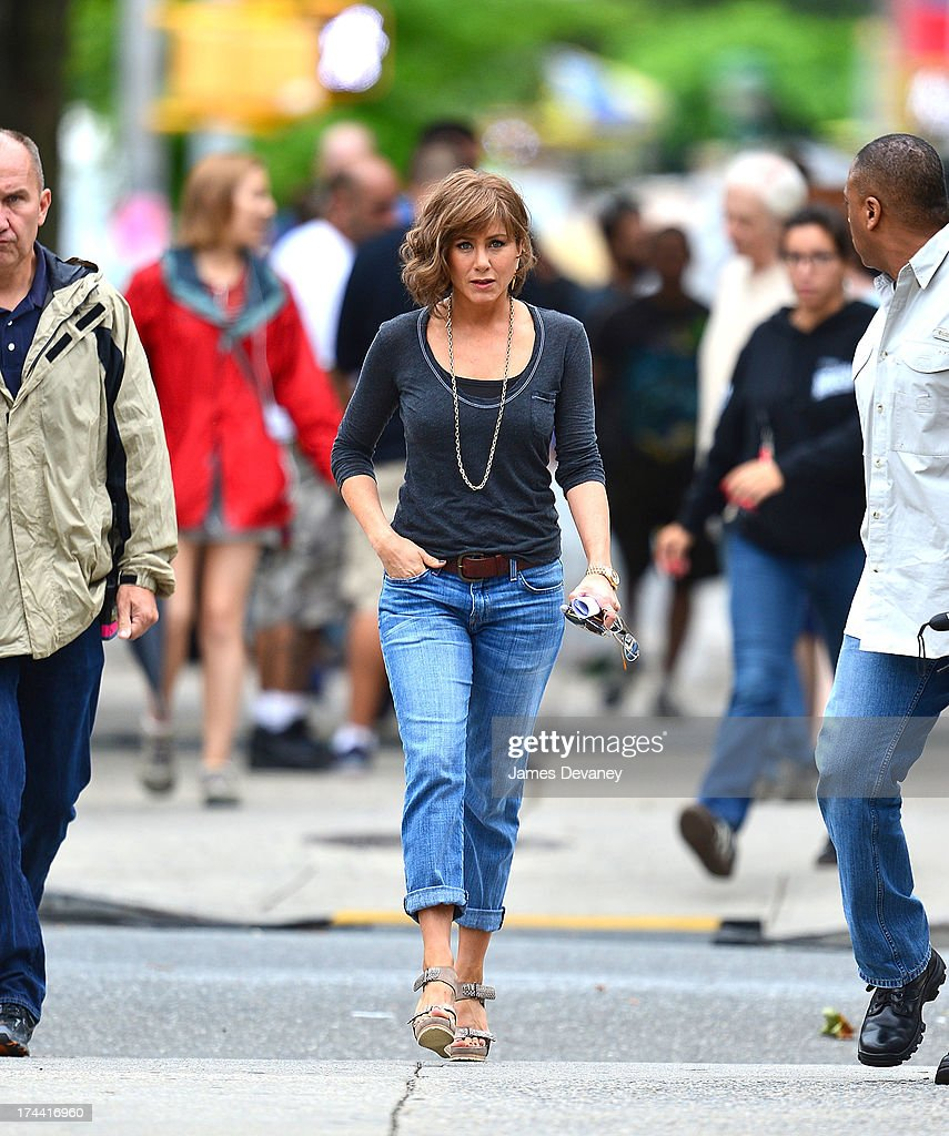 Jennifer Aniston seen on the set of 'Squirrels to the Nuts' on July 25, 2013 in the Astoria neighborhood of the Queens borough of New York City.