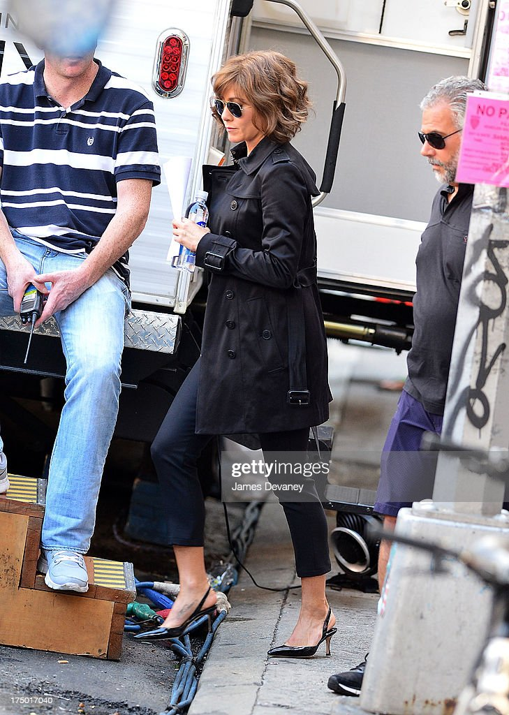 Jennifer Aniston seen on the set of 'Squirrels to the Nuts' on July 29, 2013 in New York City.