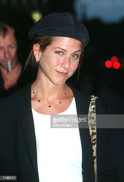 Jennifer Aniston star of TV show 'Friends' and new girlfriend of Brad Pitt arrive at the Hotel Crillon in Paris June 26 1998