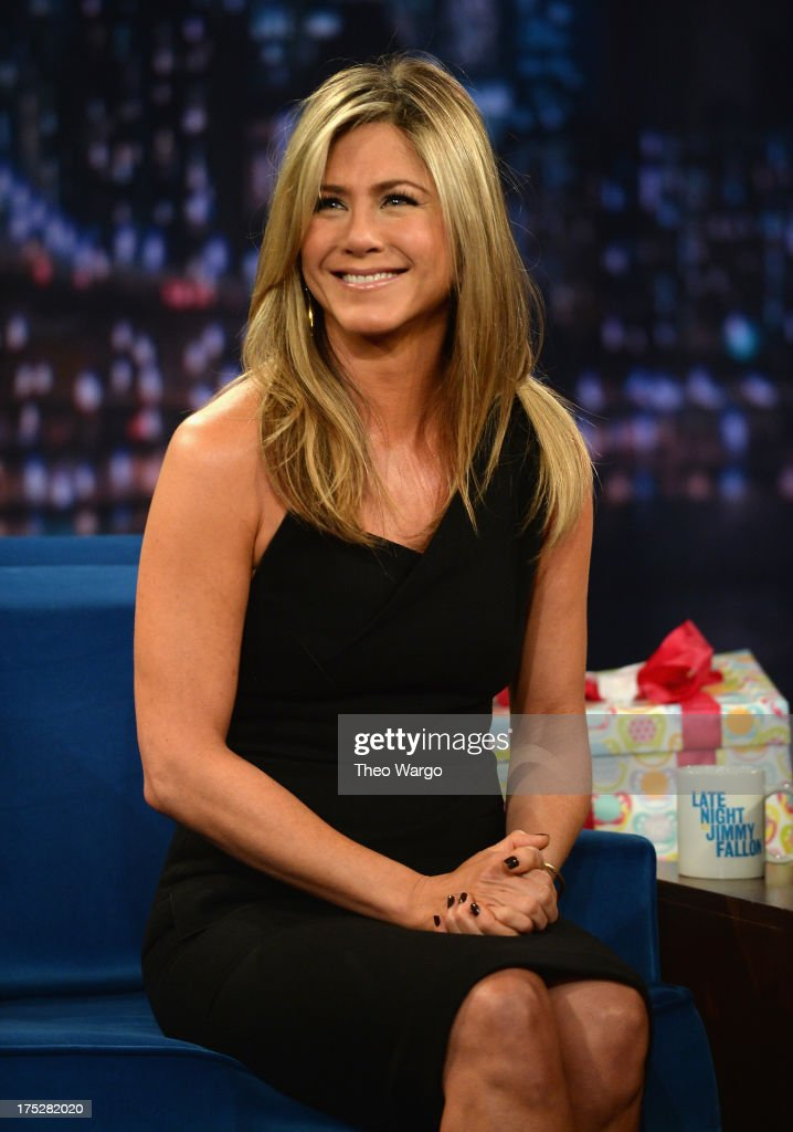 <a gi-track='captionPersonalityLinkClicked' href=/galleries/search?phrase=Jennifer+Aniston&family=editorial&specificpeople=202048 ng-click='$event.stopPropagation()'>Jennifer Aniston</a> visits 'Late Night With Jimmy Fallon' at Rockefeller Center on August 1, 2013 in New York City.