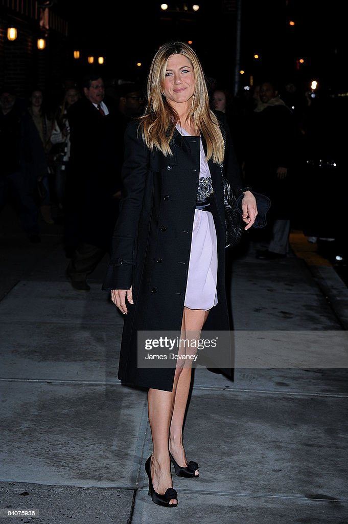 Jennifer Aniston visits the ''Late Show with David Letterman'' at the Ed Sullivan Theater on December 17, 2008 in New York City.