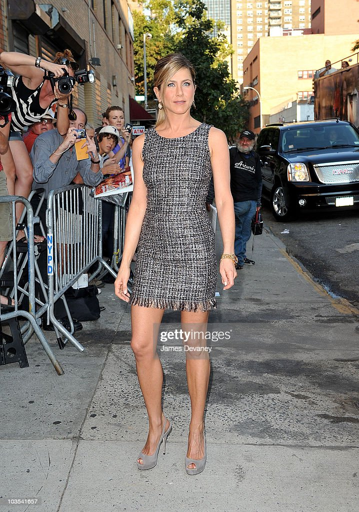 Jennifer Aniston visits the 'The Daily Show with Jon Stewart' on August 19, 2010 in New York City.