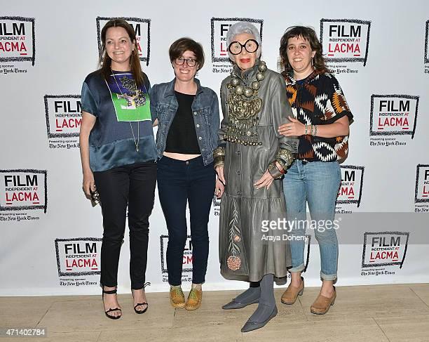 Jennifer Ash Rudick Laura Coxson Iris Apfel and Rebekah Maysles attend the Film Independent at LACMA Screening and QA of 'Iris' at Bing Theatre At...