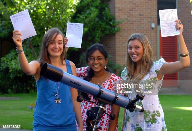Jennifer Atcheson Gayathri Kumar and Lydia Wild celebrate their GCSE results at Merchant Taylors' School for Girls in Crosby Liverpool
