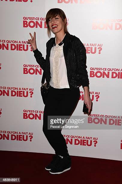 Jennifer Ayache attends the 'Qu'estce Qu'on A Fait Au Bon Dieu' Paris Premiere at Le Grand Rex on April 10 2014 in Paris France