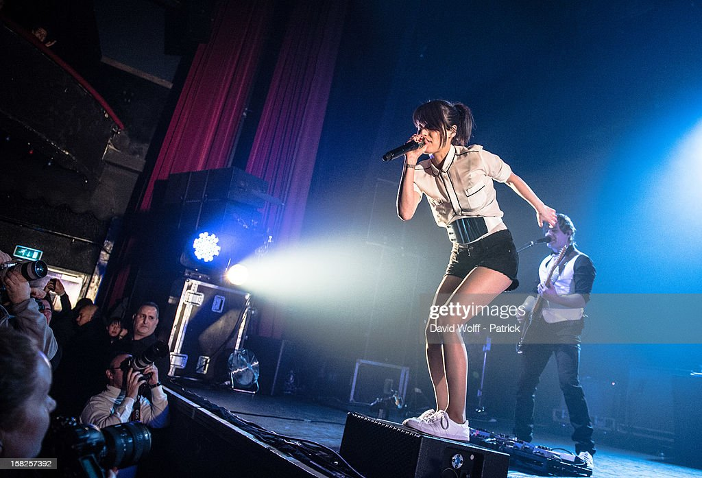 Jennifer Ayache from Superbus performs at L'Olympia on December 11, 2012 in Paris, France.
