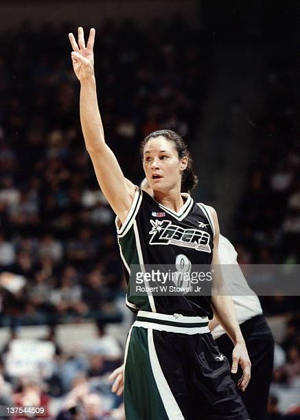Jennifer Azzi of the San Jose Lazers of the American Basketball League signals a play in a game against the New England Blizzard Hartford CT 1997