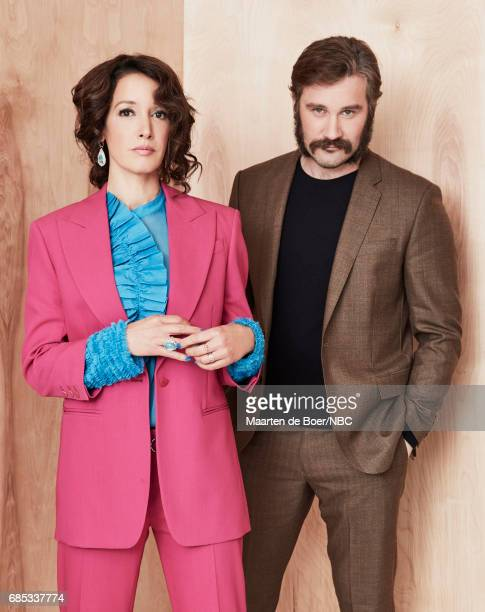 Jennifer Beals and Clive Standen of 'Taken' pose for a photo during NBCUniversal Upfront Events Season 2017 Portraits Session at Ritz Carlton Hotel...