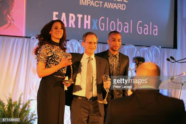 Jennifer Beals Michael Green and Kendrick Sampson attend the EARTHxGlobal Gala on April 21 2017 in Dallas Texas