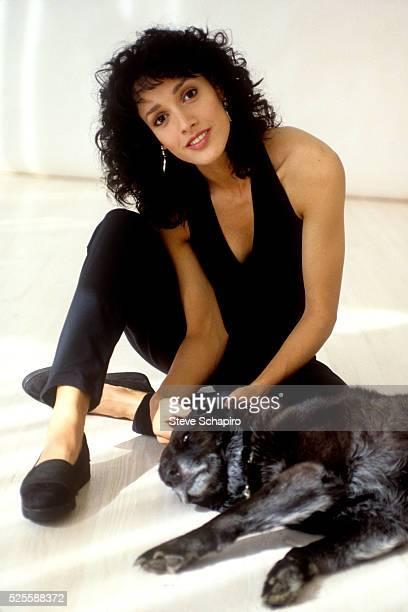 Jennifer Beals with a dog