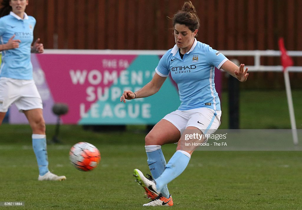 Jennifer Beattie of Manchester City during the WSL 1 match between Sunderland AFC Ladies and Manchester City Women at The Hetton Center on April 29, 2016 in Hetton, England.